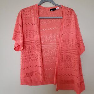 Short Sleeve Cardigan Sweater - Coral